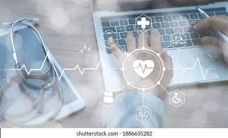 Stethoskop liegt auf Tablette und weißem Icon Medizin mit dem Handarzt unter Verwendung von Laptop-Analysedaten. Konzept des Business-Business-Technologies-Netzwerks für Untersuchen und Gesundheitswesen. Doppelte Exposition.