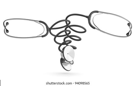 Stethoscope. Medical concept. 3D model isolated on white background