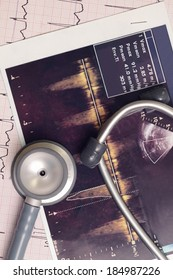 Stethoscope and medical records