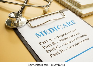 Stethoscope with medicare form with parts list.