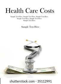 stethoscope and money with Text Space at Top