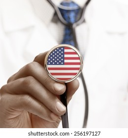 Stethoscope with national flag conceptual series - United States of America