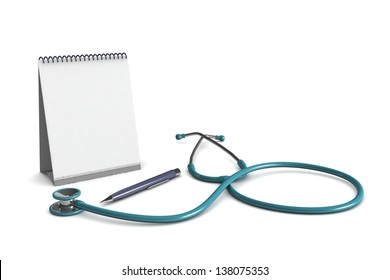 Stethoscope, notepad and pen isolated on a white background