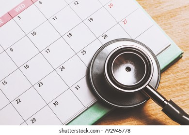stethoscope on the calendar (doctor appointment)