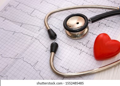 Stethoscope on cardiogram on table close up