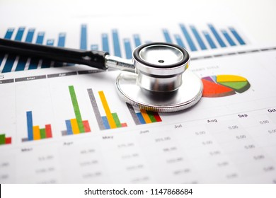 Stethoscope on Charts and Graphs paper. Analytic research data economy and Business company concept.