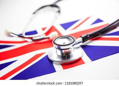 Stethoscope on England, United Kingdom flag