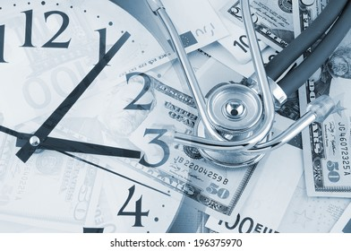 Stethoscope on euro banknotes and clock, cost of healthcare concept