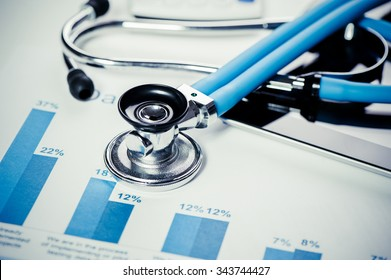Stethoscope on a graphic charts