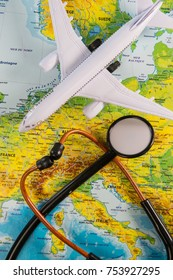 Stethoscope on map medical concept tourism travel care, France