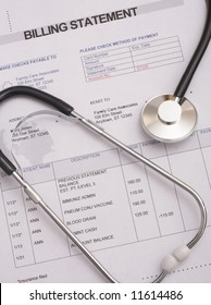 Stethoscope on medical billing statement, all text is anonymous