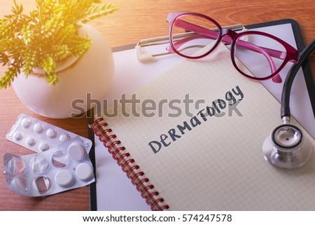 Stethoscope On Note Book Dermatology Words Stock Photo (Edit