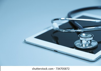stethoscope On the tablet In lab