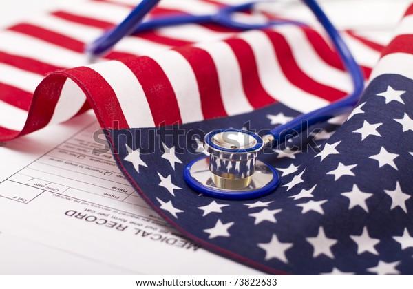 Stethoscope on a USA flag