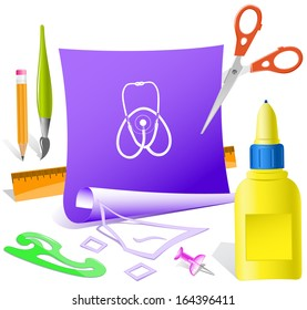 Stethoscope. Paper template. Raster illustration.