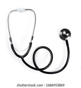 Stethoscope or phonendoscope, close-up isolated on white background,