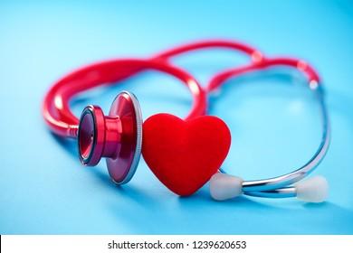 Stethoscope or phonendoscope on blue background.Medicine concept.