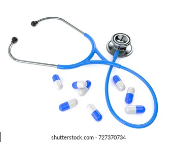 Stethoscope with pills isolated on white background. 3d illustration