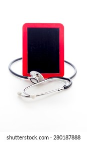 Stethoscope with red blackboard