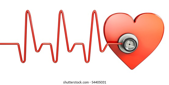 Stethoscope and red heart (3d illustration)