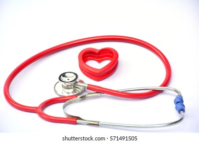 stethoscope and red heart for healthy on white background isolate