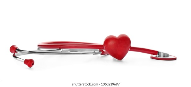 Stethoscope and red heart on white background. Cardiology concept