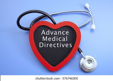 Stethoscope and red love with medical conceptual text-advance medical directives