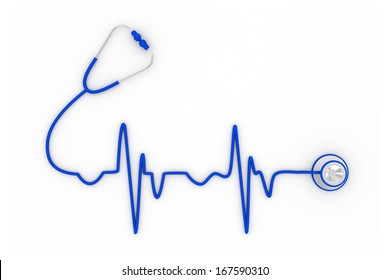 Stethoscope in shape of electrocardiogram line, Stethoscope in the shape of a Heart Beat on a ECG