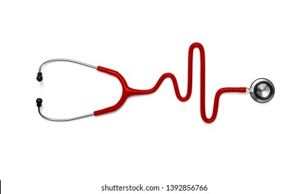 Stethoscope in the shape of a Heart Beat on a EKG, included clipping path
