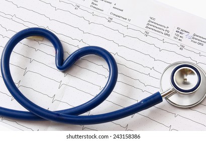 A stethoscope in a shape of heart lying on a cardiogram