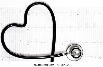 Stethoscope in the shape of heart on electrocardiogram.