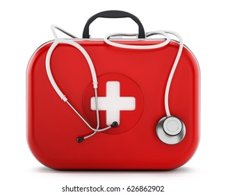 Stethoscope standing on first aid kit. 3D illustration.