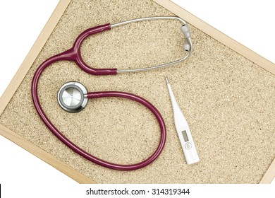 Stethoscope and Thermometer on a cork board, Medical and examining equipment. (Vintage Style Color)