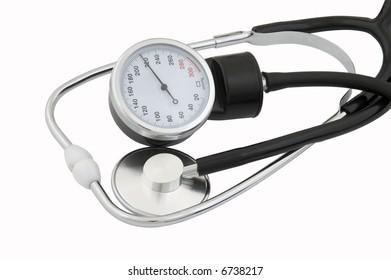 Stethoscope and tonometer on white background