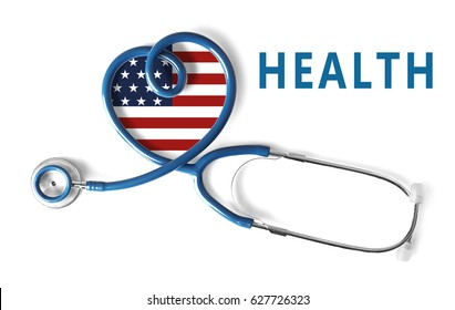 Stethoscope and USA flag in shape of heart on white background