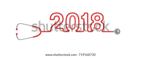 Stethoscope year 2018 / 3D illustration of stethoscope tubing forming 2018 text