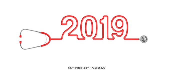 Stethoscope year 2019 / 3D illustration of stethoscope tubing forming year 2019 text