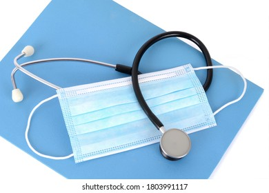 stethoscope,mask,folder isolated white background health concept