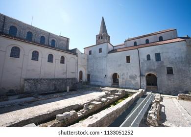 St.Euphrasius building show symbol of Croatia around floor.