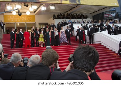 Steven Spielberg and cast attend the BFG premiere, red carpet arrivals during The 69th Annual Cannes Film Festival on 14 may 2016 at palais du festival