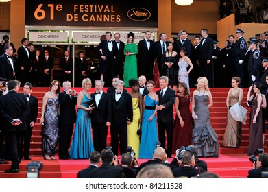 "Steven Spielberg, Kate Capshaw, George Lucas, Calista Flockhart, Harrison Ford, Karen Allen, Cate Blanchett at ""Indiana Jones"" premiere at the 61st Annual Cannes Film Festival Cannes, France 5-18-2008"