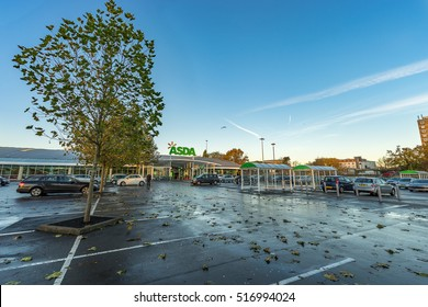 STEVENAGE, ENGLAND - NOVEMBER 16 , 2016: Asda Superstore exterior and carpark at sunrise. Asda is the UK's second largest chain by market share after Tesco.