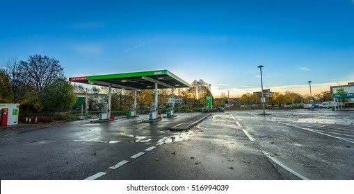STEVENAGE, ENGLAND- NOVEMBER 16, 2016: Asda Petrol Station at sunrise. Asda is the UK's second largest chain by market share after Tesco.