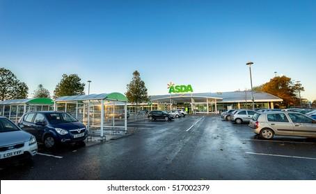 STEVENAGE, UK - NOVEMBER 16; 2016:  Asda Superstore exterior. Asda is the UK's second largest chain by market share after Tesco. ASDA sign.