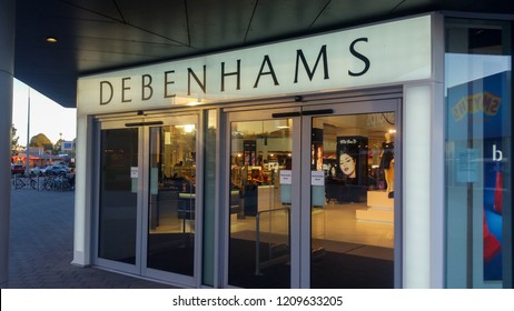 STEVENAGE, UK - OCTOBER 22, 2018: Debenhams store main entrance in the Roaring Meg retail park at Stevenage Hertfordshire