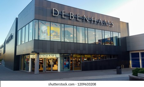 STEVENAGE, UK - OCTOBER 22, 2018: Debenhams store front in the Roaring Meg retail park at Stevenage Hertfordshire