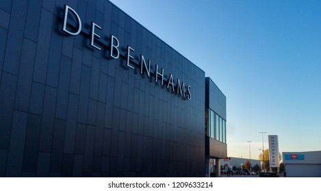 STEVENAGE, UK - OCTOBER 22, 2018: Debenhams store elevation in the Roaring Meg retail park at Stevenage Hertfordshire