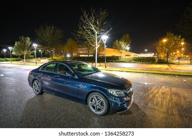 Stevenage,UK-April 4,2019: Mercedes Benz C Class Saloon 2019 model. The Mercedes-Benz C-Class is a line of compact executive cars produced by Daimler AG. Introduced in 1993