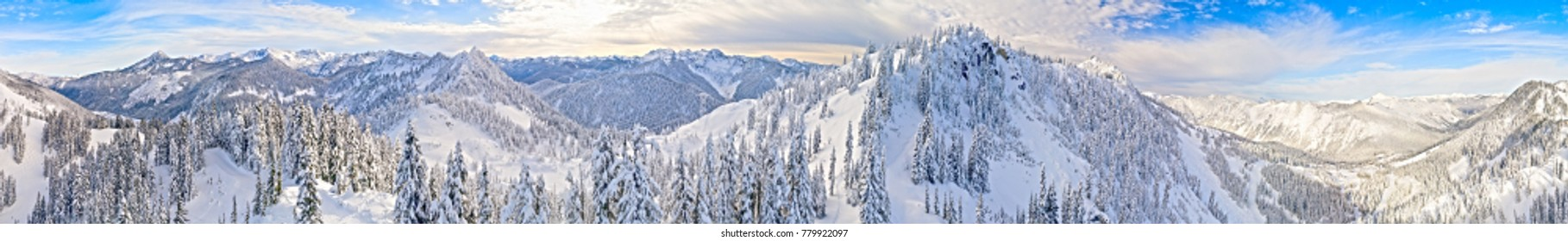 Stevens Pass Washington Ski Area 360 Aerial Panoramic View