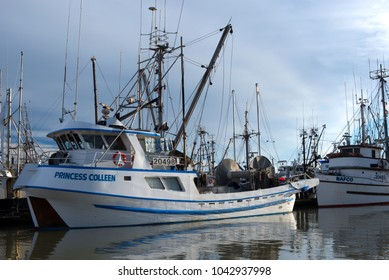 STEVESTON - JUNE 10, 2017: The most popular fishing port in Metro Vancouver is Steveston in Richmond. Is located in the delta of Fraser River. Hundreds of fishing boats anchored in the dock range.